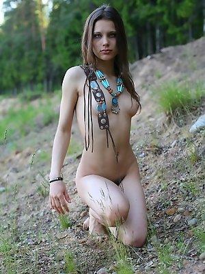 Charming nude brunette