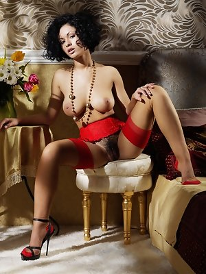 """""""Her intricate red lingerie with matching lace trimmings nicely contrasts to Pammie Lee's soft feminine curves and delicate mounds."""""""